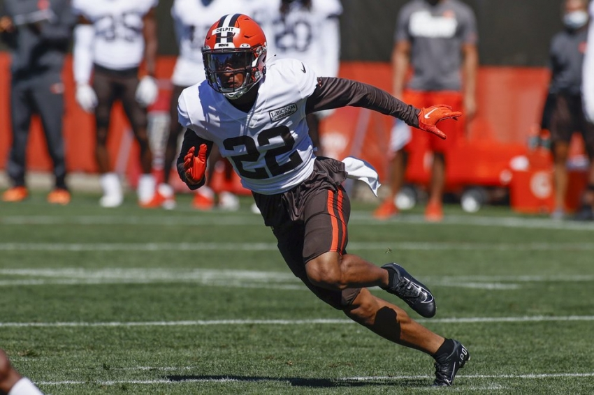 Cleveland Browns safety Grant Delpit runs through a drill during practice at the NFL football team's training facility Wednesday, Aug. 19, 2020, in Berea, Ohio.
