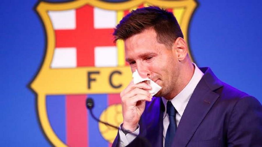 Messi in tears at final Barcelona press conference as he confirms PSG move 'is a possibility'