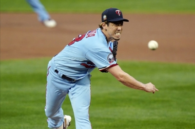 Minnesota Twins pitcher Kenta Maeda throws to a Detroit Tigers batter during the first inning of a baseball game Wednesday, Sept. 23, 2020, in Minneapolis.