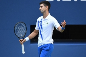 Sep 6, 2020; Flushing Meadows, New York, USA; Novak Djokovic of Serbia reacts after losing a point against Pablo Carreno Busta of Spain (not pictured) on day seven of the 2020 U.S. Open tennis tournament at USTA Billie Jean King National Tennis Center