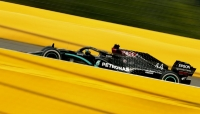 Mercedes driver Lewis Hamilton of Britain steers his car during the Formula One Grand Prix at the Spa-Francorchamps racetrack in Spa, Belgium, Sunday, Aug. 30, 2020.