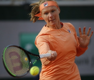 Netherlands' Kiki Bertens plays a shot against Italy's Martina Trevisan in the fourth round match of the French Open tennis tournament at the Roland Garros stadium in Paris, France, Sunday, Oct. 4, 2020.