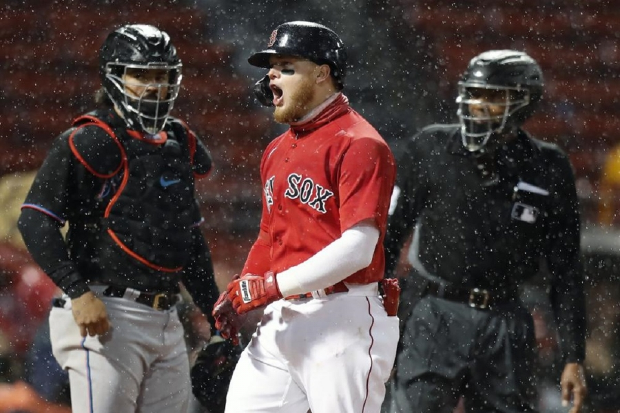 Miami Marlins v Boston Red Sox: Verdugo, Red Sox beat Marlins in rain-shortened game