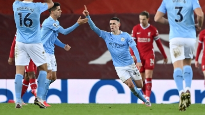 Manchester City equal record English top-flight winning run after big win over Liverpool at Anfield