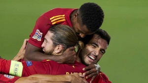 Spain gets a 4-0 victory over the Ukraine in the UEFA Nations League