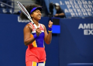 Sep 10, 2020; Flushing Meadows, New York, USA; Naomi Osaka of Japan reacts after winning the match against Jennifer Brady of the United States in the women's singles semifinals match on day eleven of the 2020 U.S. Open tennis tournament at USTA Billie Jean King National Tennis Center.